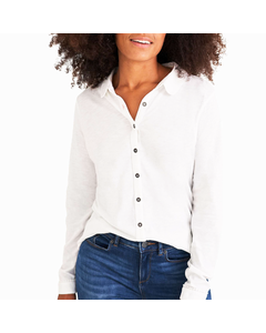 White Stuff Ladies Pom Trim Collared Jersey Shirt