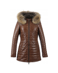Oakwood Ladies Happy Racoon Quilted Distressed Leather Jacket