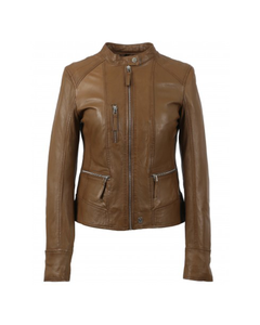 Oakwood Ladies Each Collarless Leather Biker Jacket