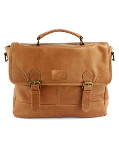 The British Belt Company Leather Briefcase In Tanned Matt Leather